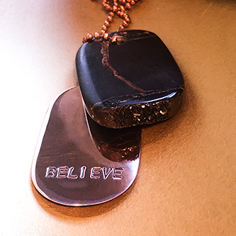 "Talisman Iridescent Shamanite (Black Calcite) with Druzy and Copper ""BELIEVE"" Goddess Tag Necklace crystal dog tag pendant"