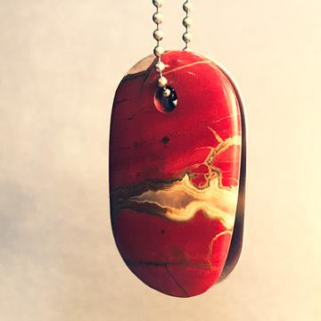 "Talisman of Red Jasper and Scratched Steel ""LIFE FORCE"" Stamped Goddess Tag Necklace crystal dog tag"