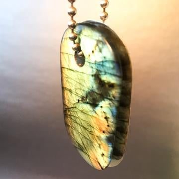 "Talisman Iridescent Shamanite (Black Calcite) with Druzy and Copper ""BELIEVE"" Goddess Tag Necklace"