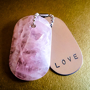 "Talisman of Rose Quartz and Silver ""LOVE"" Stamped Goddess Tag Necklace"