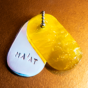 "MINI Talisman of Yellow Glass with Neolithic technology Flintknapping and Silver ""MA'AT"" Stamped Goddess Tag Necklace"