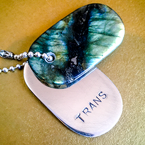 "Talisman of Labradorite and Silver ""TRANS"" Stamped Goddess Tag Necklace"