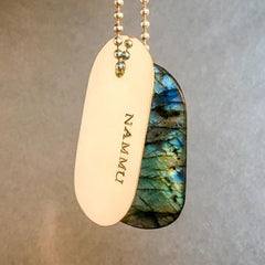"Talisman of Labradorite and Silver ""Nammu"" Stamped Goddess Tag Necklace dog tag boho"