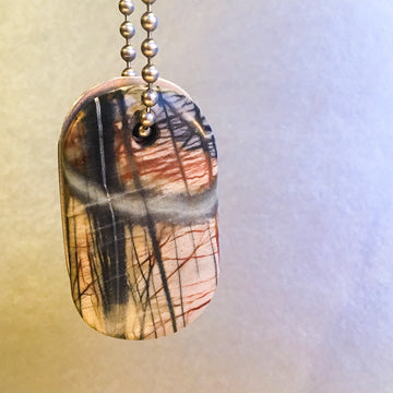 "Talisman of Picasso-Marble (Picasso Stone) and Scratched Steel ""NOT IN MY NAME"" Stamped Goddess Tag Necklace crystal dog tag"