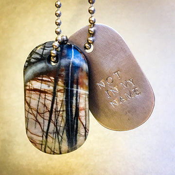 Talisman of Serpentine with Native Copper in Matrix and Copper Custom Stamped Goddess Tag Necklace