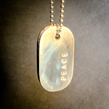 "Talisman of Picasso-Marble (Picasso Stone) and Silver ""PEACE"" Dog tag crystal necklace"