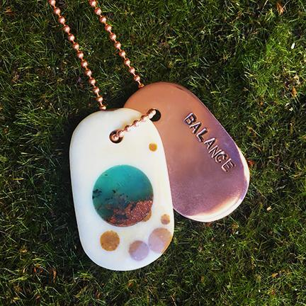 "Talisman Polka Dot Agate with Chrysoprase and Copper ""BALANCE"" Stamped Goddess Tag dog tag necklace crystal pendant"
