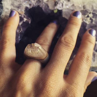 Quartz Crystal Point Power & Protection Ring Size 6