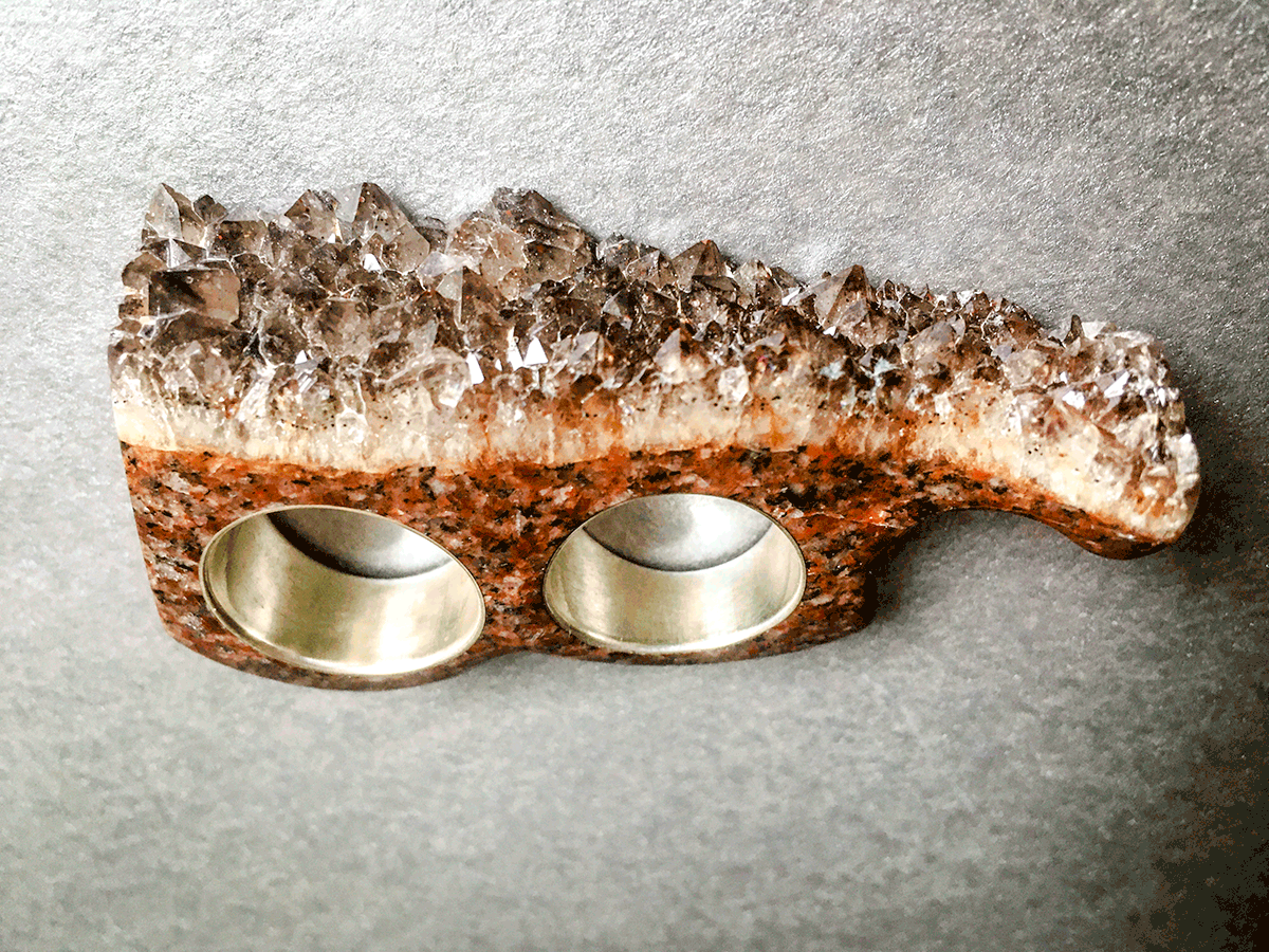 Crystal Knuckles in Smokey Amber Quartz & Silver