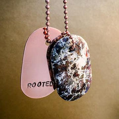 "Talisman of Stone Jasper and Silver ""Rooted"" Stamped Goddess Tag Necklace crystal dog tag pendant"