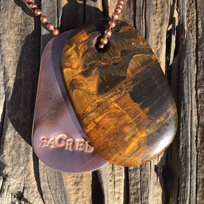 "Tigers Eye and Copper ""Sacred"" Stamped Goddess Tag Necklace"