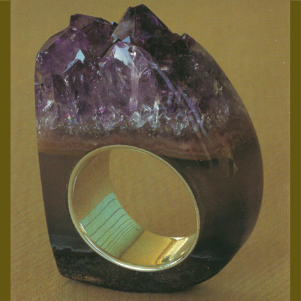 Custom - Amethyst Crystal Point Ring