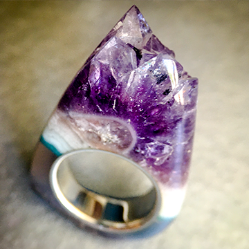 Talismanic Stone Ring in Petrified Wood, Turquoise, Hematite, Sugilite and Silver Size 14.5