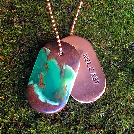 Talisman of Chrysoprase and Copper Stamped Goddess Tag Necklace dog tag boho chunky jewelry couture