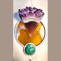 Cow Skull with Stone Intarsia Design in Amethyst geode, yellow glass and Botryoidal Malachite