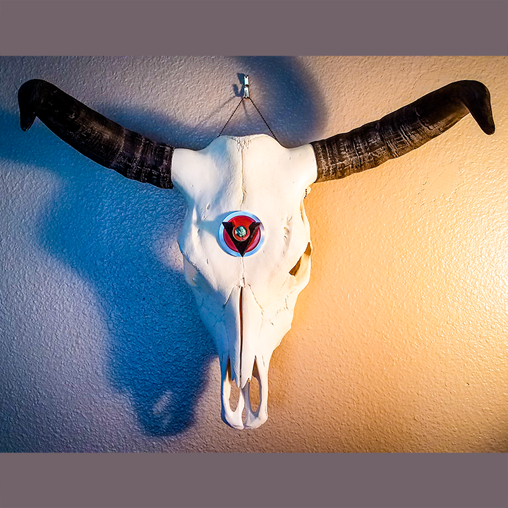 Cow Skull with Black Granite, Turquoise, Red Fiber Optic Glass and Aluminum