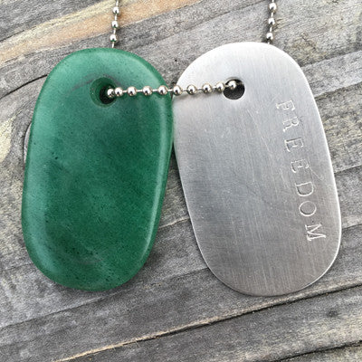 "Aventurine and Steel ""Freedom"" Goddess Tag Necklace"
