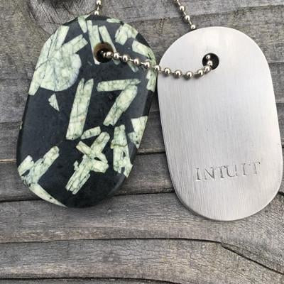 "Chinese Writing Stone and Steel ""Intuit"" Goddess Tag Necklace"