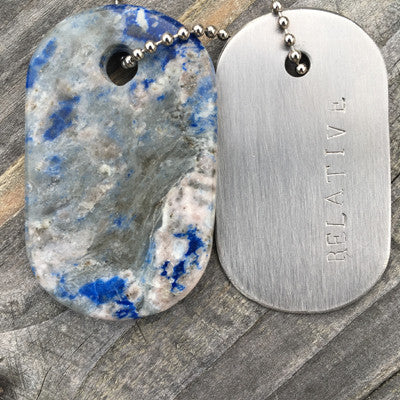 "Talisman Sodalite and Steel ""Relative"" Goddess Tag Necklace"
