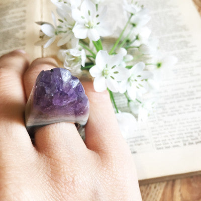 Women's Size Tall Amethyst Crystal Point Power & Protection Ring