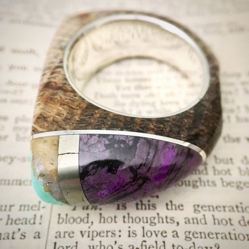 Men's Size Talismanic Stone Ring in Petrified Wood, Turquoise, Hematite, Sugilite and Silver