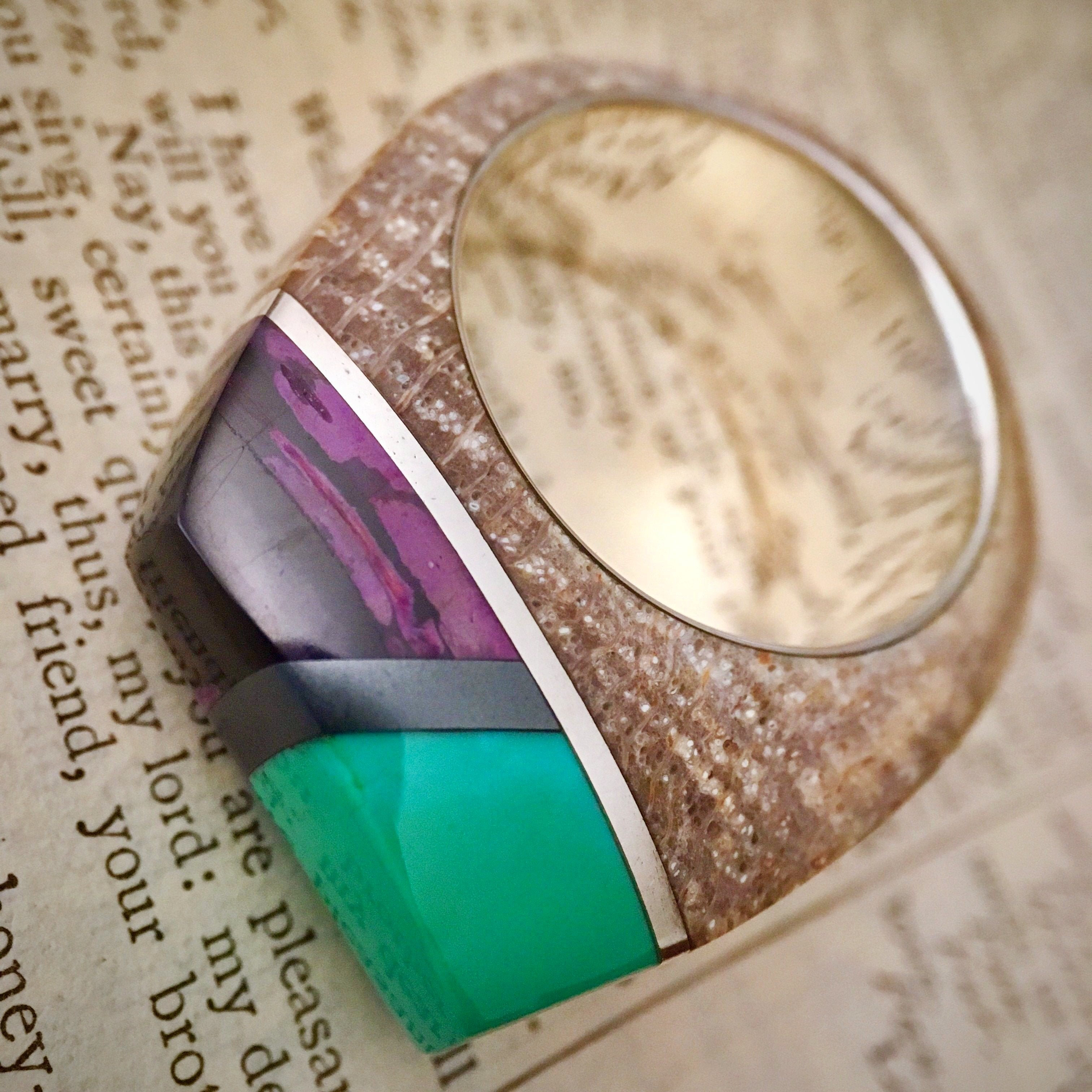 Petrified Wood, Turquoise, Hematite, Sugilite and Silver Ring in Men's Size