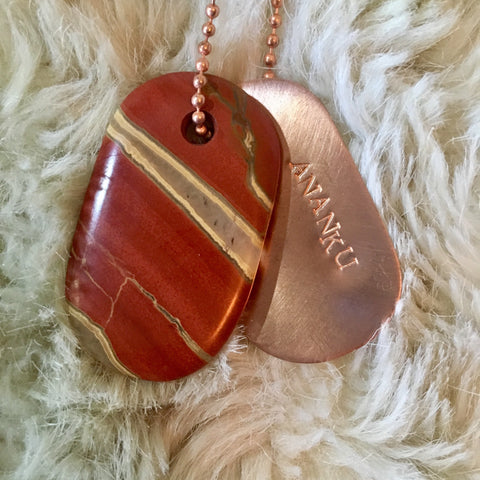 "Talisman of Stromatolite (Petrified Algae) and Copper ""Source"" Stamped Goddess Tag Necklace"