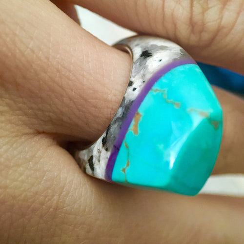 Turquoise, Granite, Sugilite and Silver Talismanic Ring in Size 6.5