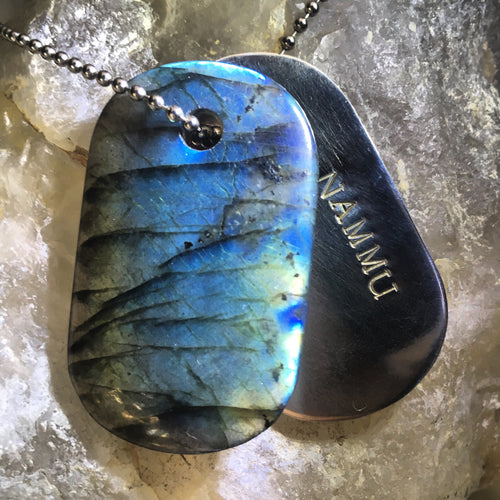 "Labradorite and Silver ""Nammu"" Stamped Goddess Tag Necklace"