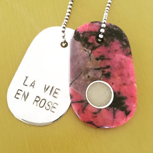 "00016 Talisman of Rhodonite, Custom Breastmilk and Sterling Silver ""LA VIE EN ROSE"" Goddess Tag Necklace"