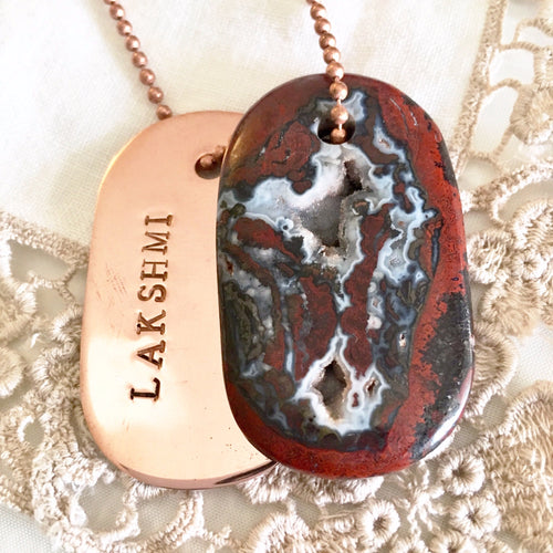lakshmi agate crystals goddess tag balancing copper necklace