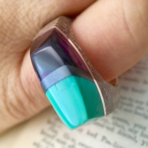 Petrified Wood, Turquoise, Hematite, Sugilite and Silver Ring Size 12 1/2