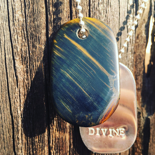 "00017 Talisman in Blue Tigers Eye and Silver ""Divine"" Goddess Tag Necklace"