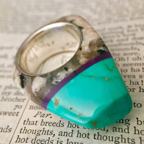 Turquoise, Granite, Sugilite and Silver Talismanic Ring in Women's Size