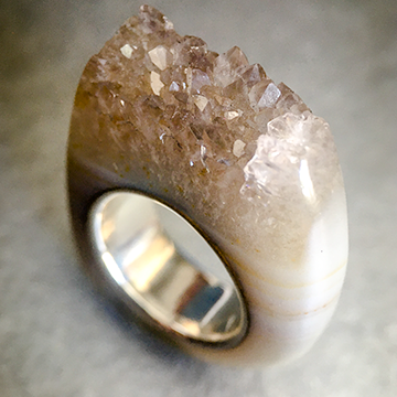 Quartz Crystal Point Power & Protection Ring size 4.5