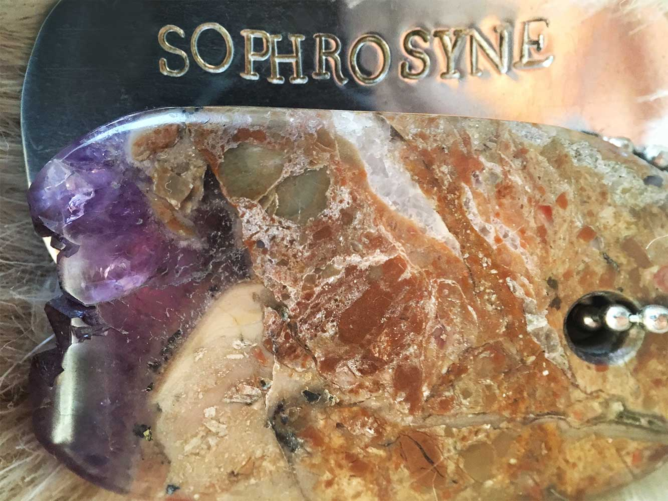 "Talisman of Amethyst and Silver ""SOPHROSYNE"" Stamped Goddess Tag Necklace"