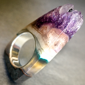 Tall Amethyst Crystal Point Power & Protection Ring size 7