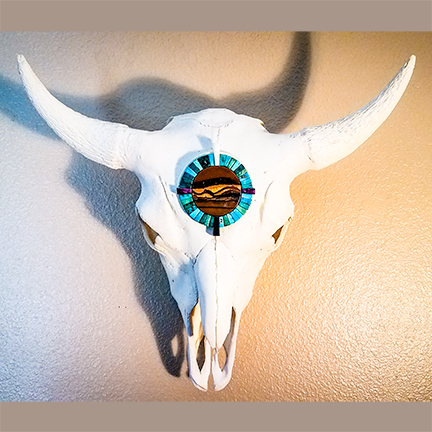 Bison Skull with Stone Intagria Design in Turquoise, Sugilate and Tiger's Iron