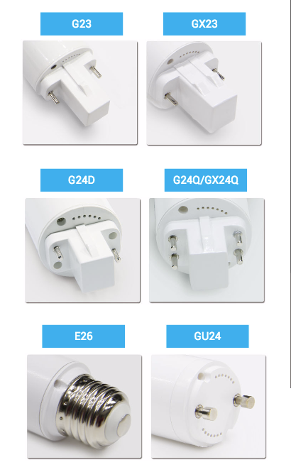 G24D, G24Q, GX24Q, G23, GX23, E26 and GU24 pin base types