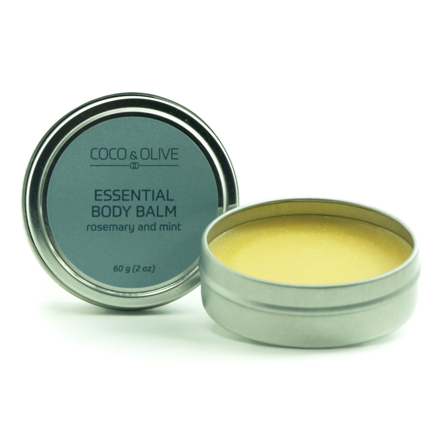 Coco & Olive Essential Body Balm a mixture of mango butter and nourishing oils. Provides a protective layer for your skin.