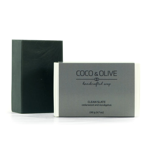Coco & Olive Clean Slate signature men's soap. Earthy, woodsy scent leaves you feeling clean and refreshed.