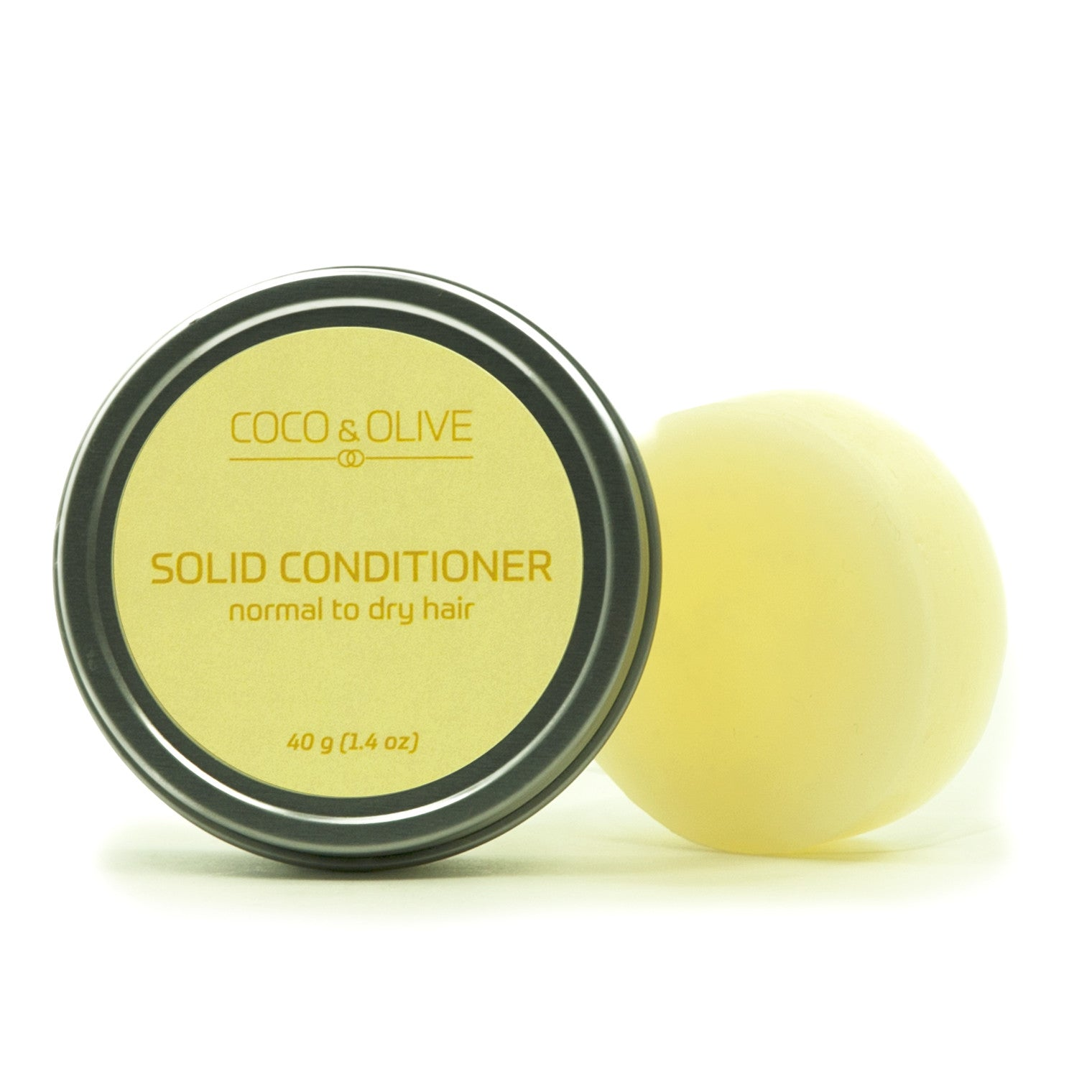 Coco & Olive Solid Conditioner Normal to Dry hair. This bar is designed to tame unruly, dry, frizzy hair into submission.