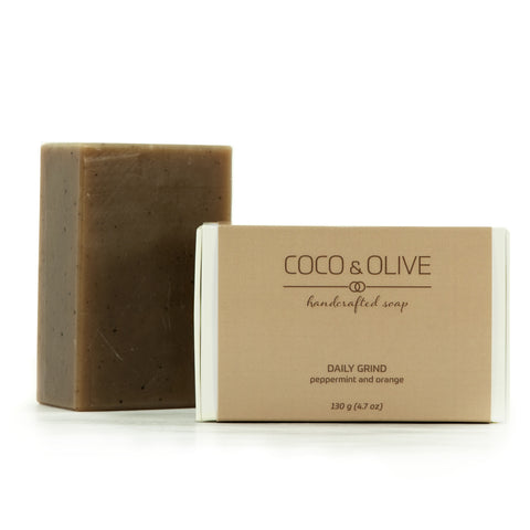 Coco & Olive Daily Grind handmade luxury soap. Exfoliating ground espresso beans, together with scents of peppermint and orange, will get you through the day.