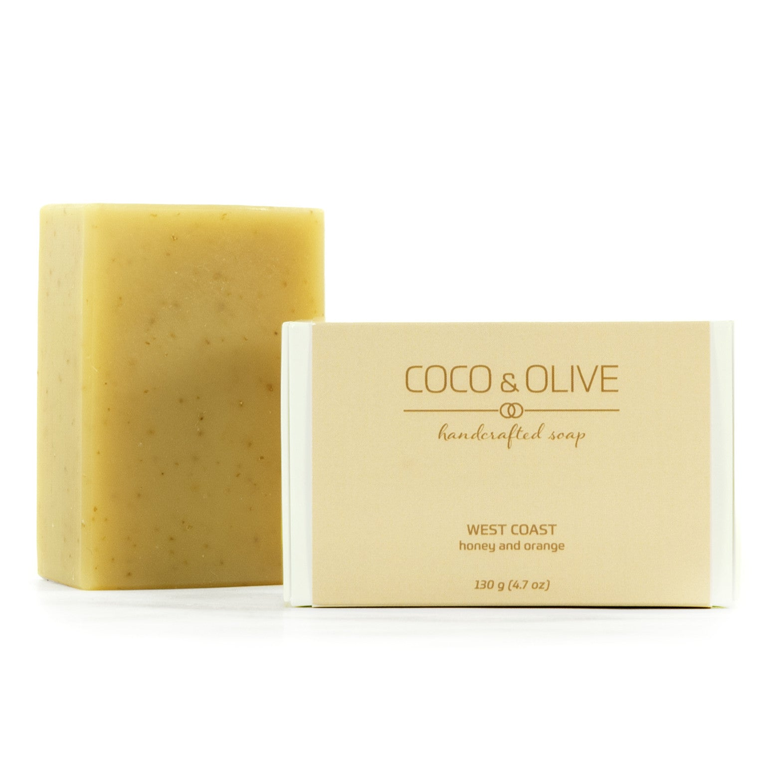 West Coast Coco & Olive handmade luxury soap. Containing organic British Columbia honey, reminiscent of west coast sunshine.