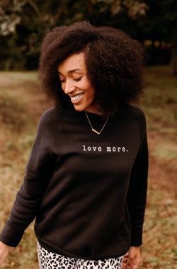 'Love More' Embroidered Sweatshirt - Black