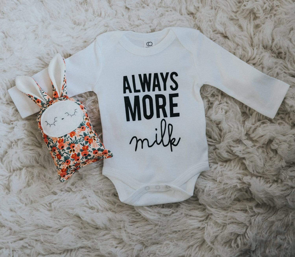 Always More Milk Long Sleeve Onesie - White