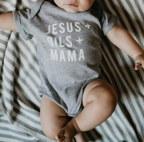 Jesus + Oils + Mama Onesie - Heather Grey