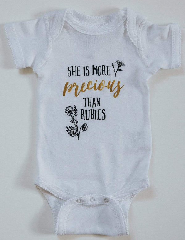 She Is More Precious Than Rubies Onesie - White & Gold