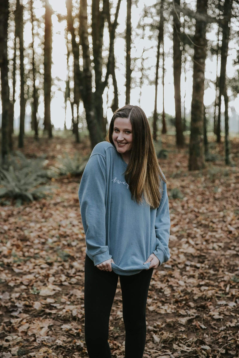 Always More Embroidered Sweatshirt - Blue Jean