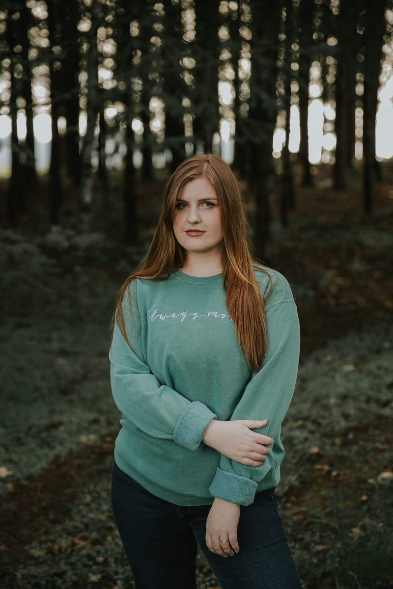 Always More Embroidered Sweatshirt - Light Green